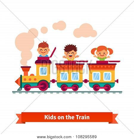 Kids, boys and girls riding on a cartoon train