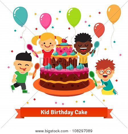 Happy smiling celebrating kids with birthday cake