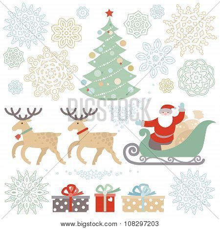 Set Of Christmas, Happy New Year Vector Elements.
