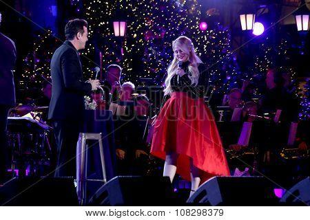 LOS ANGELES - NOV 14:  Seth MacFarlane, Meghan Trainor at the The Grove Christmas with Seth MacFarlane 2015 at the The Grove on November 14, 2015 in Los Angeles, CA