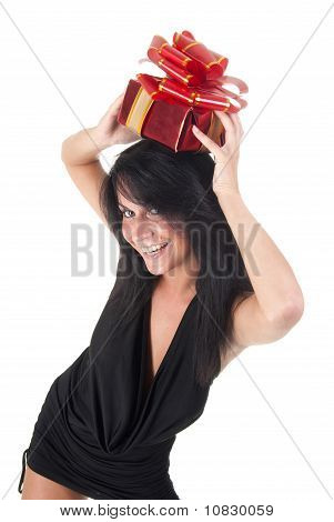 happy beautiful lady holding her gift