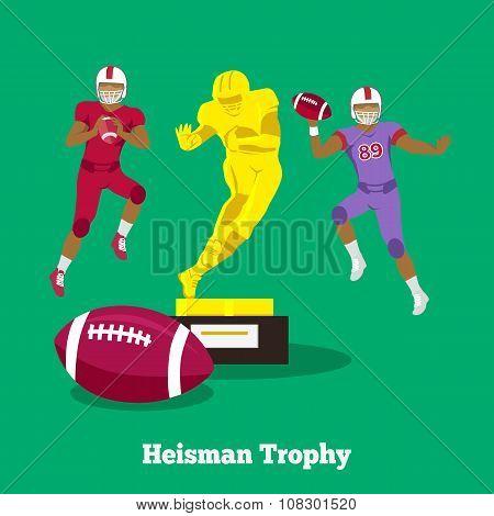 Heisman Trophy Concept Flat Design