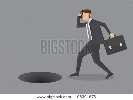 Danger Of Talking On Phone While Walking Vector Illustration