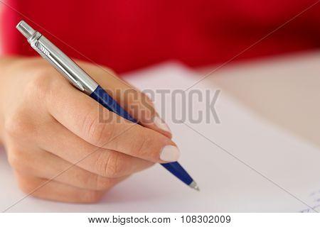 Female Hand Holding Silver Pen Closeup