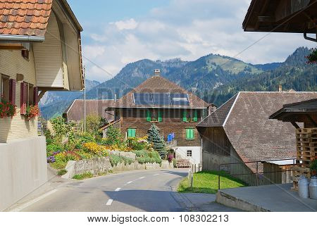 View to the typical countryside houses in Emmental, Switzerland.