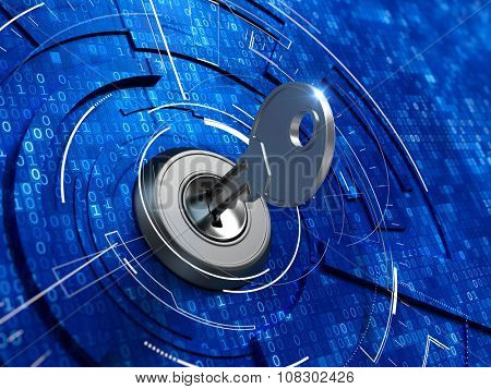Digital security concept -  key in keyhole
