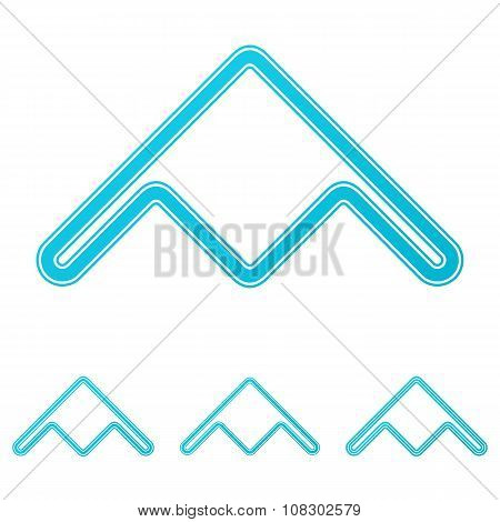 Cyan stealth bomber logo design set