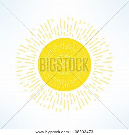 Vector bright sun in modern flat design. Hot solar emblem