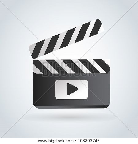 Cinema film clapper board vector illustration icons set