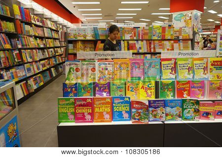 Various Books Display In The Famous Popular Bookstore