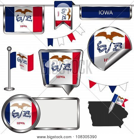 Glossy Icons With Flag Of Iowa
