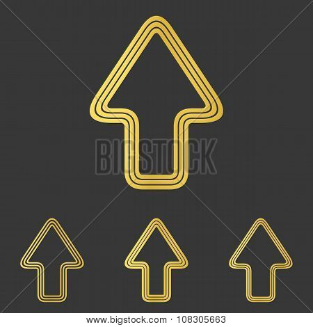 Golden line upwards arrow logo design set poster