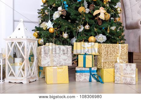 Many Boxes With A Christas Gifts