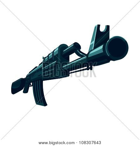 Vector Weapon automatic gun. Isolated on white vector military sign. Without gradients and transparency. poster