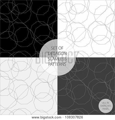 Set Of Four Vector Patterns In Monochrome