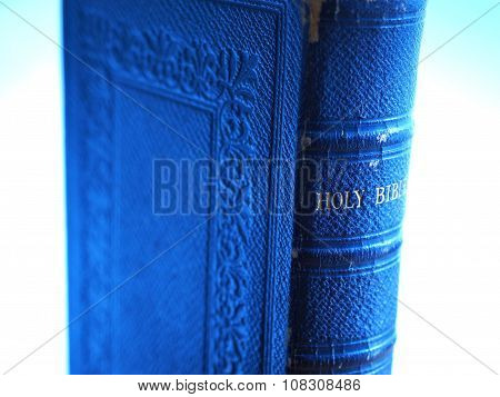 Old Leather Holy Bible in Blue Light
