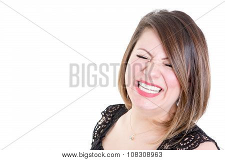 Very Happy Woman Against White Background