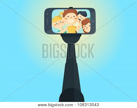 Selfie Shots Yong Teenager School Girls And Boys Vector Illustration.