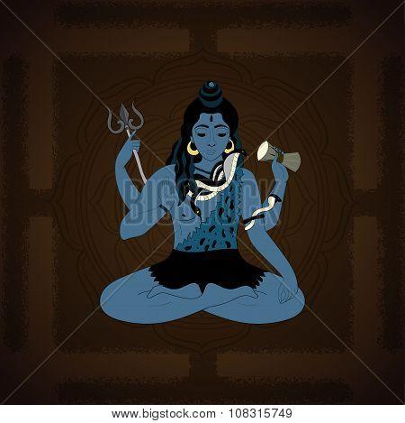 Lord Shiva. Hindu gods vector illustration. Indian Supreme God Shiva sitting in meditation.