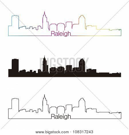 Raleigh Skyline Linear Style With Rainbow