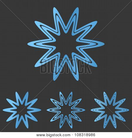 Blue line star logo design set