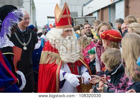 Sinterklaas Greeting The Children