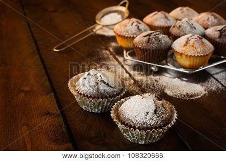Muffins On Dark Background