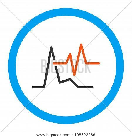 Ecg glyph icon. Style is flat rounded symbol, bright colors, rounded angles, white background. poster