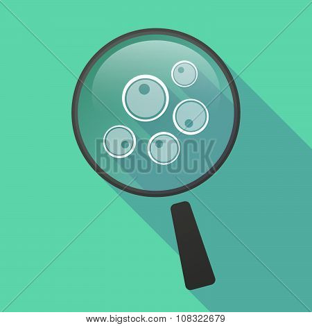 Long Shadow Magnifier Vector Icon With Oocytes