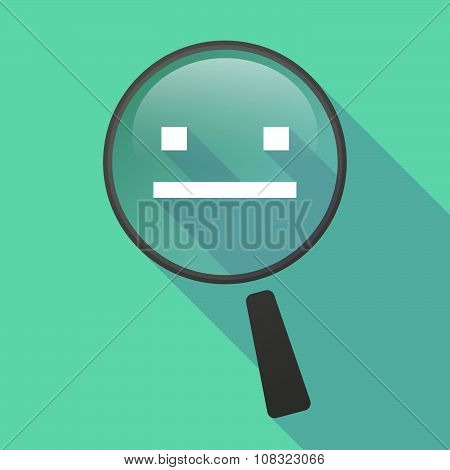 Long Shadow Magnifier Vector Icon With A Emotionless Text Face