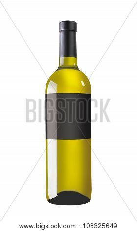 White wine bottle with black label