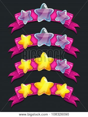 Cool cartoon glassy stars on pink ribbon