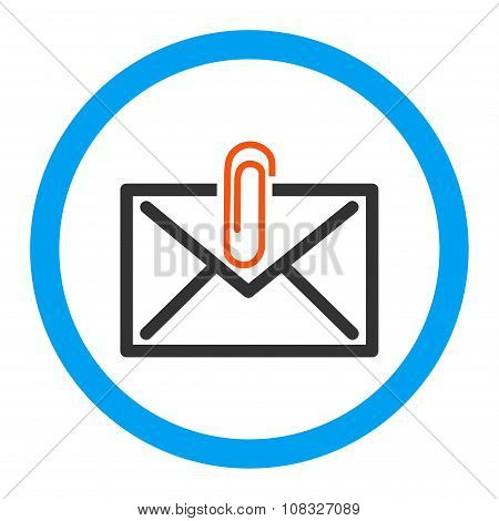 Mail Attachment glyph icon. Style is flat rounded symbol, bright colors, rounded angles, white background. poster