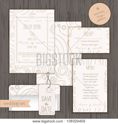 Modern linear wedding invitation card design set include Invitation card, Save the date, RSVP card, menu card and door hanger poster