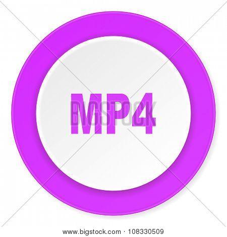 mp4 violet pink circle 3d modern flat design icon on white background