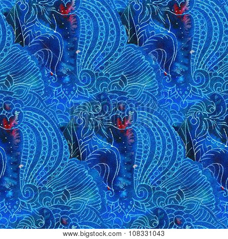 The intricate batik pattern with texture of fabric. Seamless pattern. Hand-drawn illustration. poster