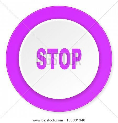 stop violet pink circle 3d modern flat design icon on white background