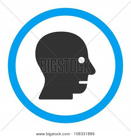 Patient Head glyph icon. Style is flat rounded symbol, bright colors, rounded angles, white background. poster