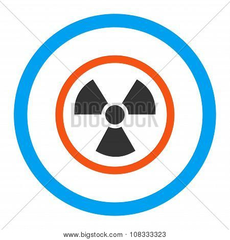 Radiation Danger glyph icon. Style is flat rounded symbol, bright colors, rounded angles, white background. poster