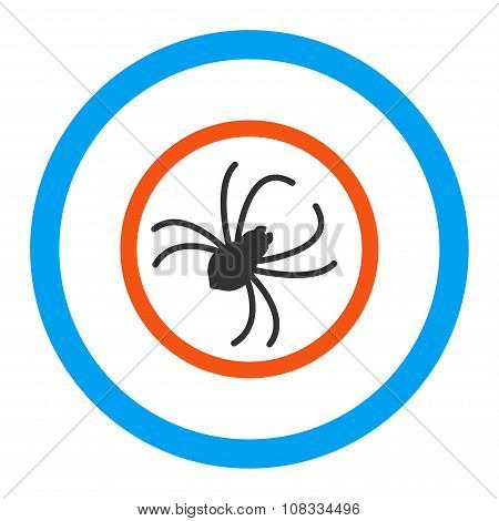 Spider glyph icon. Style is flat rounded symbol, bright colors, rounded angles, white background. poster