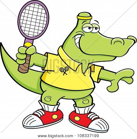Cartoon alligator playing tennis.