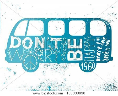 Vintage hippie time decorated van. Don't worry, be happy. Peace, love, rock-n-roll