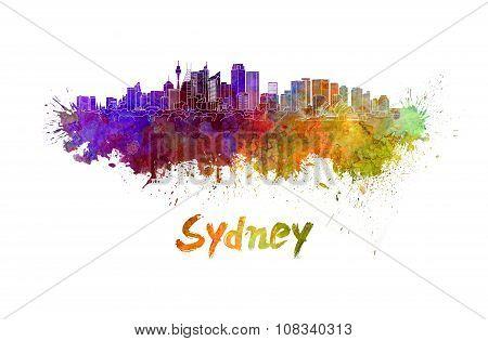 Sydney V2 Skyline In Watercolor