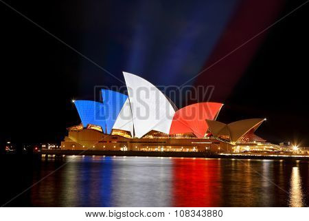 Sydney Opera House In Colours Of French Flag