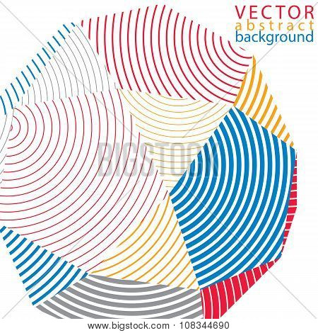 Vector Digital 3D Striped Abstraction, Geometric Polygonal Element. Spatial Technological Colorful S