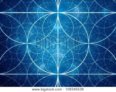 Blue symmetrical fractal circles computer generated abstract background poster