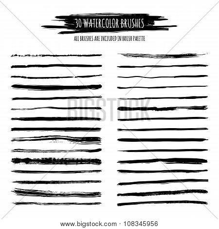 Set Of Black Watercolor, Ink Hand Drawn Brush Strokes, Borders, Dividers Isolated.