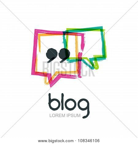 Vector Watercolor Hand Drawn Trendy Blog Icon.