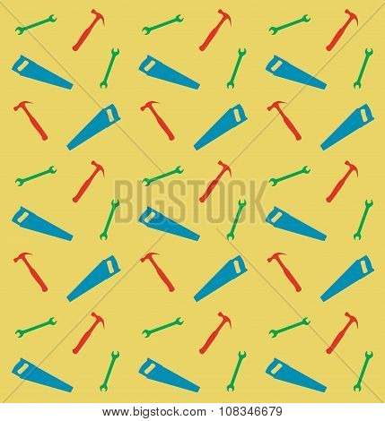 Pattern Of Spanner, Saw And Hummer