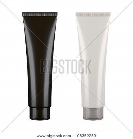 Black and white tubes mockup